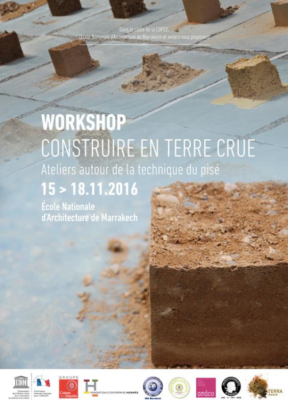 Atelier construire en terre crue donné à l'école d'architecture de Marrakech © amàco