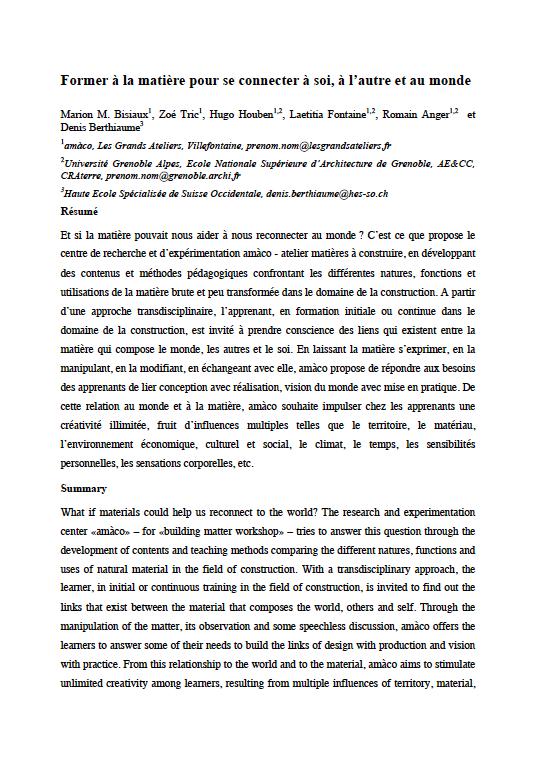 Article « Former à la matière pour se connecter à soi, à l'autre et au monde » publié dans le cadre du colloque Questions de Pédagogie pour l'Enseignement Supérieur (QPES) organisé à Grenoble en 2017