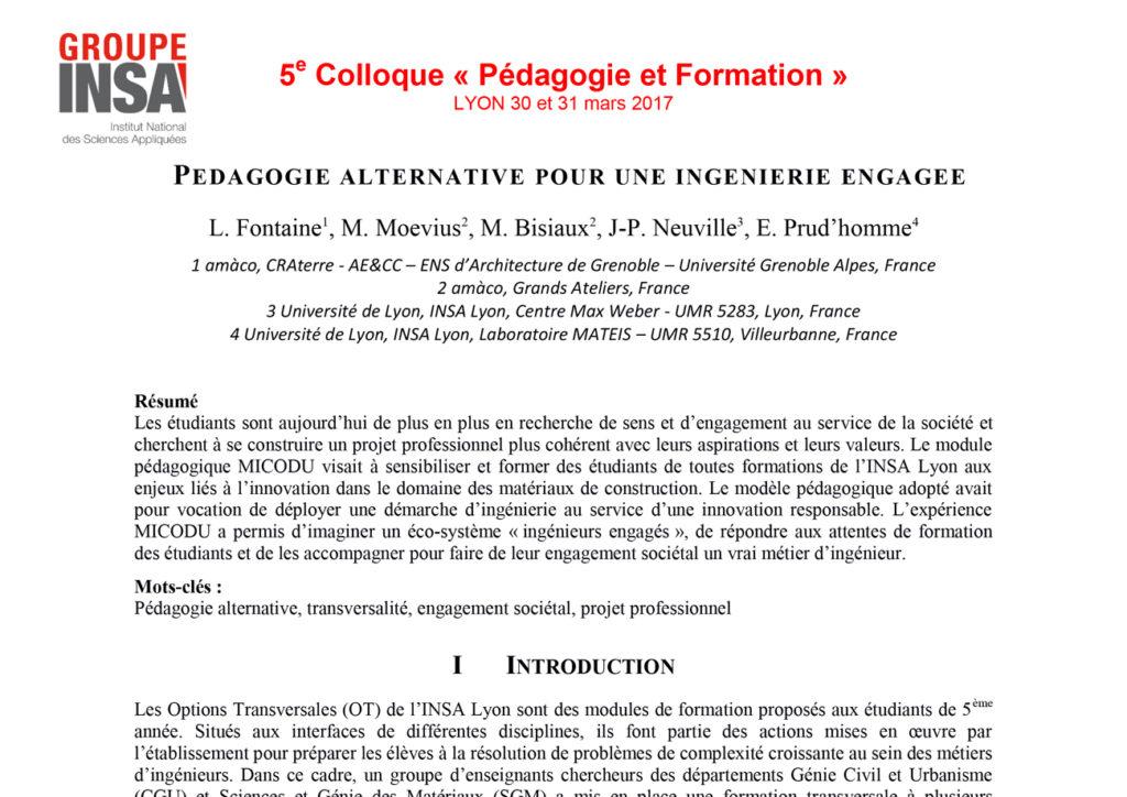 Proposition de communication dans le cadre du 5ème colloque Pédagogie et Formation organisé par l'INSA Lyon en 2017.