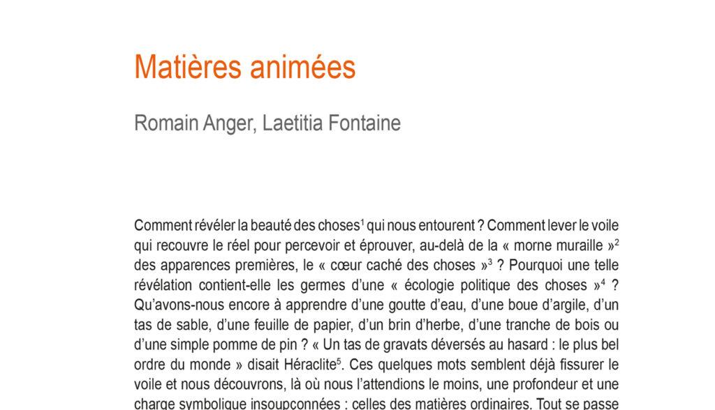 Article Matières animées paru dans la revue Le Philotope n°12 - MaT(i)erres
