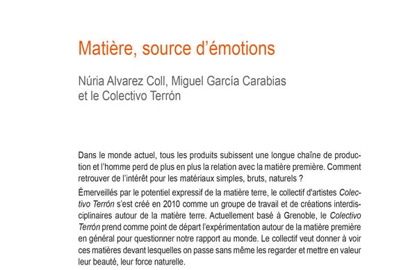 Article Matière, source d'émotions paru dans la revue Le Philotope n°12 - MaT(i)erres