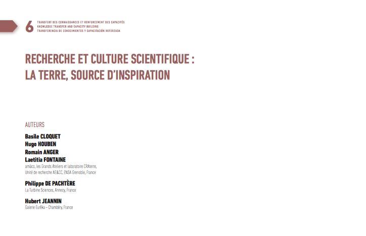 Recherche et culture scientifique – la terre, source d'inspiration