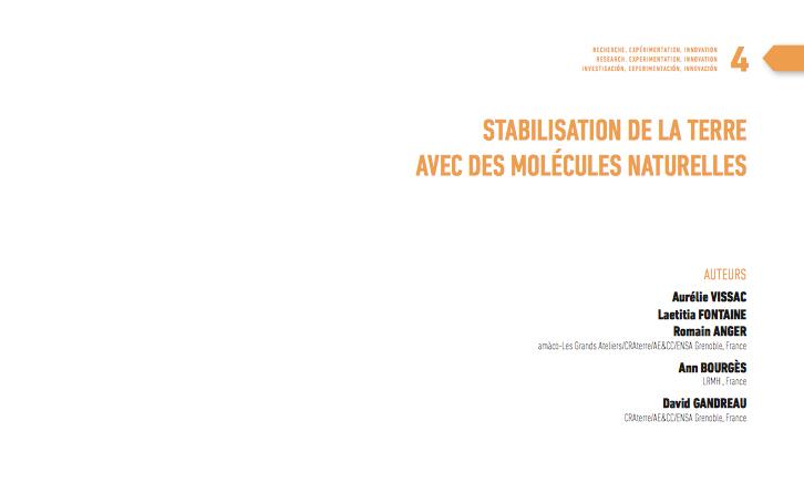 Stabilisation de la terre avec des molécules naturelles