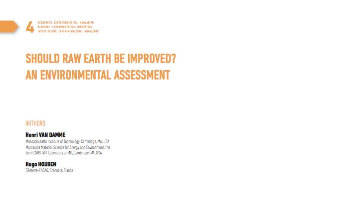 Article évaluation environnemental de la terre crue