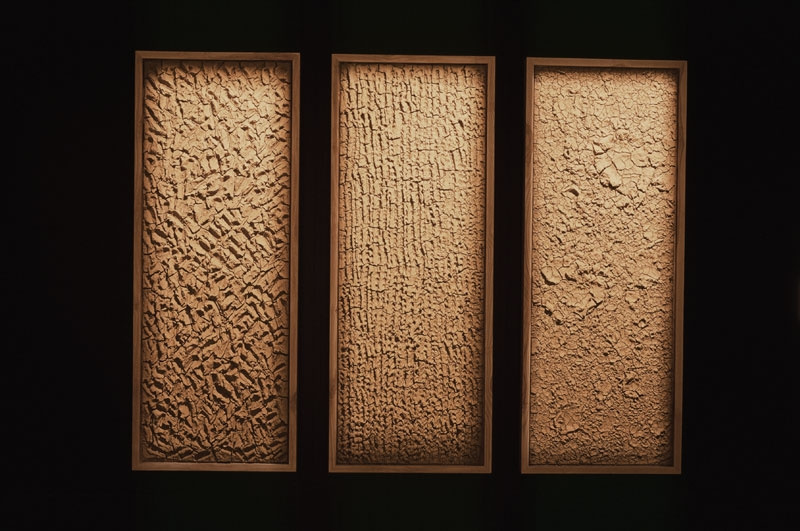 Tableaux texturés, réalisés pour l'exposition « Ma Terre première » © Daniel Duchert